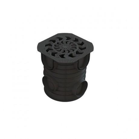 Дождесборник круглый 283*312 мм с пластиковой решеткой