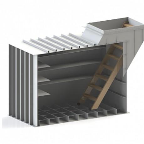 Погреб прямоугольный, со смещенным входом 55 градусов 2000х1500х2000