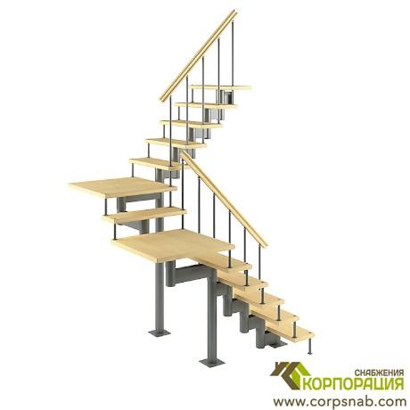 Модульная лестница с поворотом на 180 градусов и площадками 2700-2820 мм