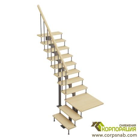 Модульная лестница с поворотом 90 градусов с площадкой 2925-3055 мм