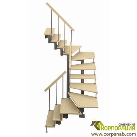 Модульная лестница с поворотом 180 градусов 2700-2820 мм