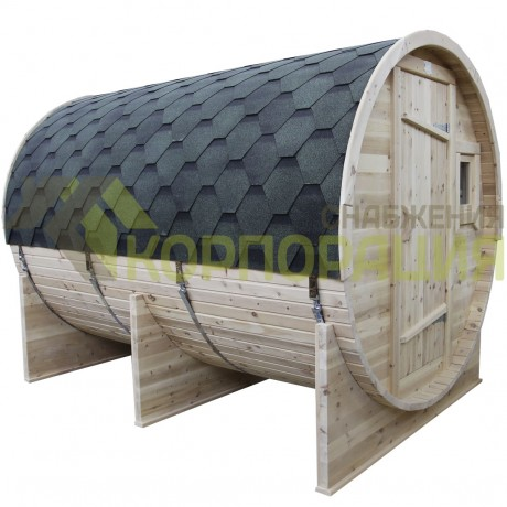 Баня-бочка круглая из кедра 3000x2100x2100 мм